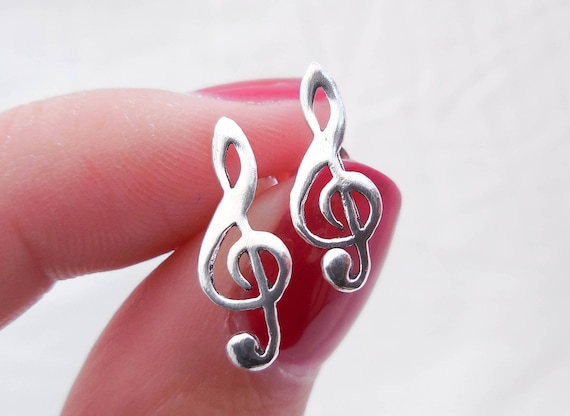 Clef Note Earrings Music Note Earrings Music Jewelry Music Teacher Gift 925 Sterling Silver Musical Notes Earrings Music Note Studs