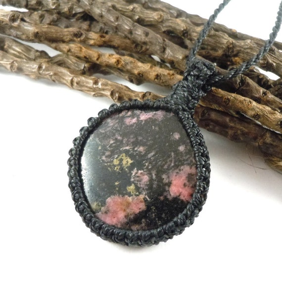 Self-love necklace rose quartz pendant mothers day gift hematite necklace crystal healing jewelry rhodonite pendant yoga necklace