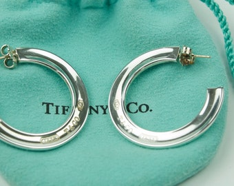 TIFFANY & CO. 925 SILVER 1837 Medium Hoop Earrings with Pouch
