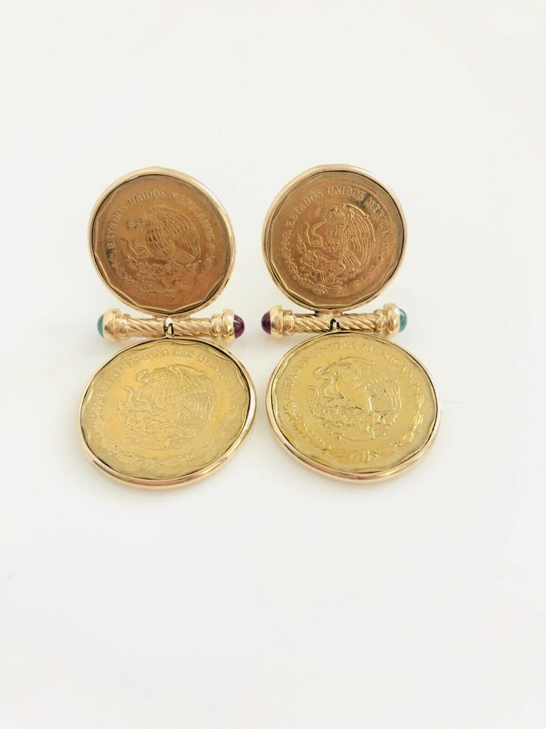 14K Yellow Gold  50 & 20 Mexican Peso Coin Emerald and Ruby Omega Back  Earrings