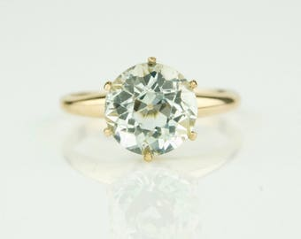 Victorian Solid Rose Gold Round Old European Cut Blue Aquamarine Cathedral Ring