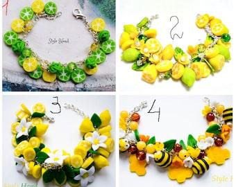 citrus, lime bracelet, citrus, Citrus Lemon Jewelry, Flowering Lemon bracelet, Flowering Lemon Necklace, Flowering Lemon Necklace, Bracelet
