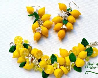 Set lemon, earrings lemon, bracelet lemon, lemon jewelry, yellow bracelet, yellow earrings, citrus jewelry, citrus earrings, bracelet, gift