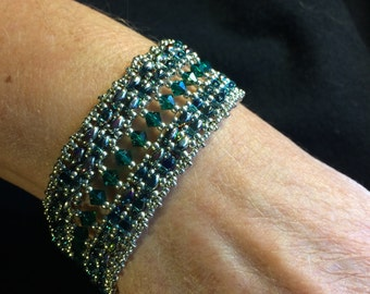 NO 93 Hand Beaded Crystal and Glass Bracelet