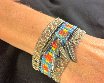 NO 77 Hand woven glass beaded bracelet