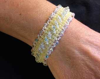 NO 88 Hand woven crystal and glass bracelet