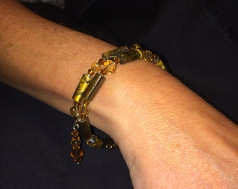 Number 12 Memory wire bracelet hand beaded by Maine Artist Amber Martin