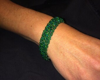 Number 27 right angle hand woven bracelet. Maine Artist