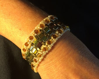 Number 34 Cleopatra style hand woven bracelet. Maine Artist