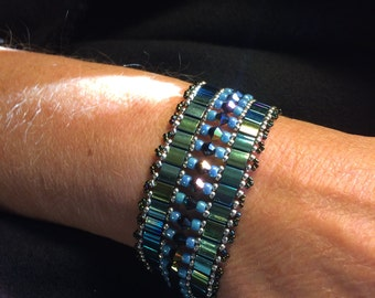 NO 97 Hand Beaded Crystal and Glass Bracelet