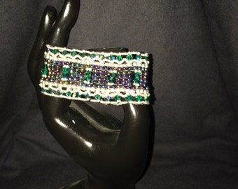 NO 56 Hand woven crystal and glass bracelet