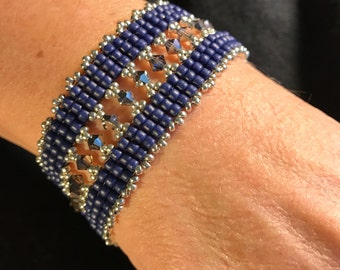 NO 123 Hand Beaded Crystal and Glass Bracelet
