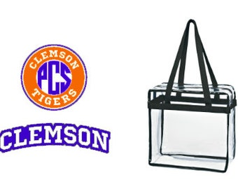 Clemson Tigers Custom Monogram/ Personalized Game Day Clear Tote Bag with Zipper Closure