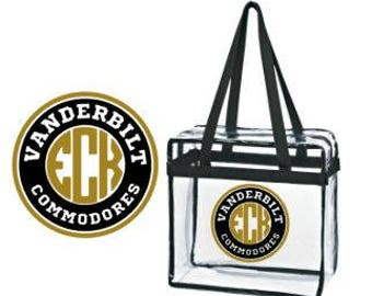Vanderbilt Commodores Border w/ Personalized Monogram Clear Tote Bag with Zipper Closure