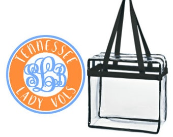 Tenn Lady Vols Custom Monogram/ Personalized Game Day Clear Tote Bag with Zipper Closure