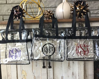 Football Stadium Approved clear bag with Monogram / Clear Tote with Zipper Closure 12x12x6