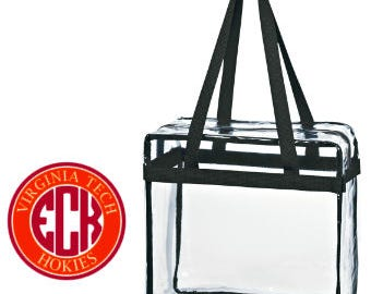Virginia Tech VA Tech Custom Monogram/ Personalized Game Day Clear Tote Bag with Zipper Closure