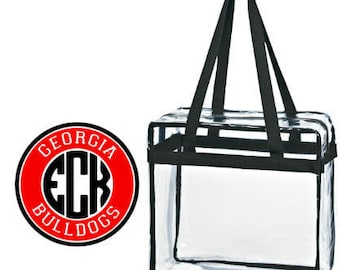 Georgia Bulldogs Custom Monogram/ Personalized Game Day Clear Tote Bag with Zipper Closure