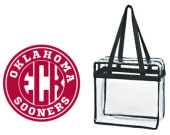 Oklahoma Sooners OK Custom Monogram/ Personalized Game Day Clear Tote Bag with Zipper Closure