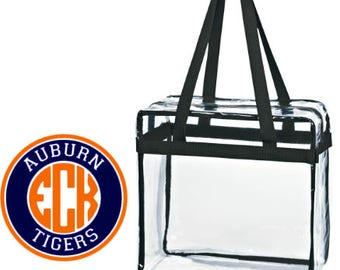 Auburn Tigers Custom Monogram/ Personalized Game Day Clear Tote Bag with Zipper Closure