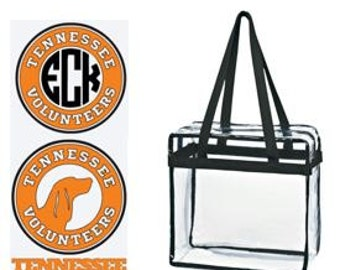 Tennessee Volunteers Custom Monogram/ Personalized Game Day Clear Tote Bag with Zipper Closure