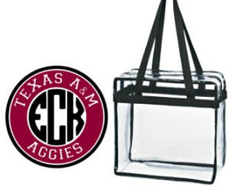 Texas A&M Aggies Custom Monogram/ Personalized Game Day Clear Tote Bag with Zipper Closure