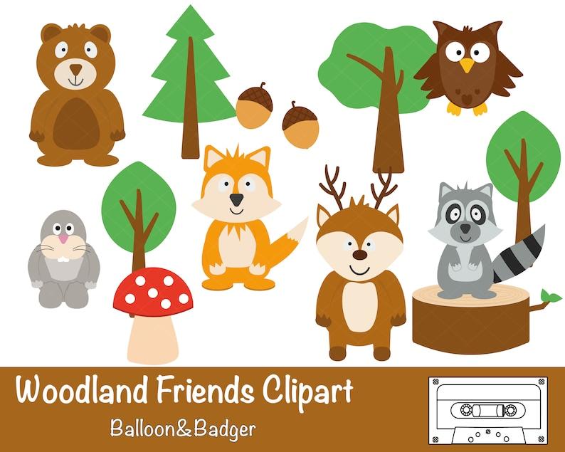 Wald Freunde Clipart Wald Freunde Clipart Woodland Etsy