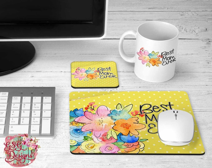 Featured listing image: Best Mom Ever Bright floral Desk Gift Set with coordinating coffee mug, coasters, and mousepad