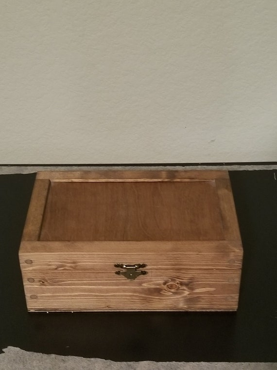 Handmade Brown Wood Rectangular Jewelry Box With Lid On Hinges