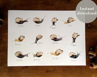 Snail Family - 5x7 Printable Art - Bookmark - Watercolor Print