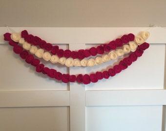 Triple Strand Felt Flower Garland, Rose Felt Garland, Nursery Decor, Baby Girl Shower Flower Decor, Wedding Decor