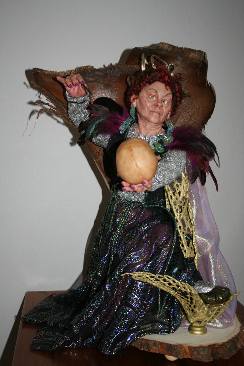 One of a Kind witch art doll Sorry Dear Husband polymer clay sculpt by Sue Menz