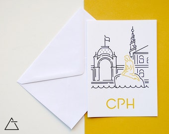 Copenhagen greeting card - Blank card - Wanderlust unique gift - Home decor wall art - minimal city art - vector illustration cities