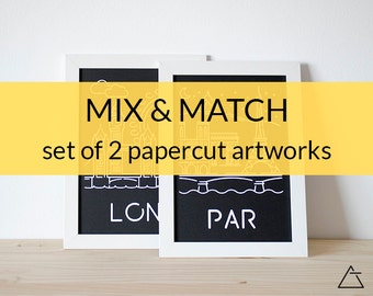 Set of 2 city papercut art - Minimal black and white art - Wanderlust unique gift - Frameable wall art - Home decor artwork - mix and match