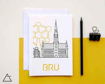 Brussels greeting card - Blank card - Wanderlust unique gift - Home decor wall art - minimal city art - vector illustration cities