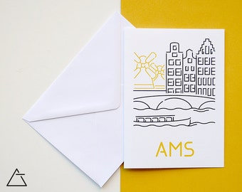 Amsterdam greeting card - Blank card - Wanderlust unique gift - Home decor wall art - minimal city art - vector illustration cities