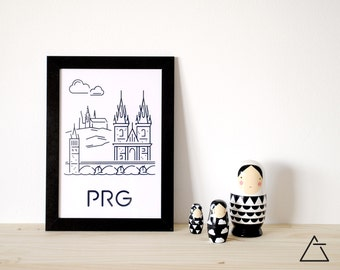 Prague city A4 papercut art - Minimal black and white art - Wanderlust unique gift - Frameable wall art - Home decor artwork