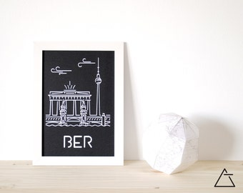 Berlin city A4 papercut art - Minimal black and white art - Wanderlust unique gift - Frameable wall art - Home decor artwork