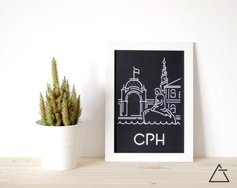 Copenhagen city A4 papercut art - Minimal black and white art - Wanderlust unique gift - Frameable wall art - Home decor artwork