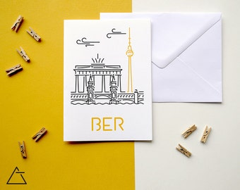 Berlin greeting card - Blank card - Wanderlust unique gift - Home decor wall art - minimal city art - vector illustration cities