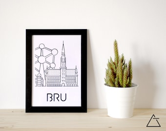 Brussels city A4 papercut art - Minimal black and white art - Wanderlust unique gift - Frameable wall art - Home decor artwork