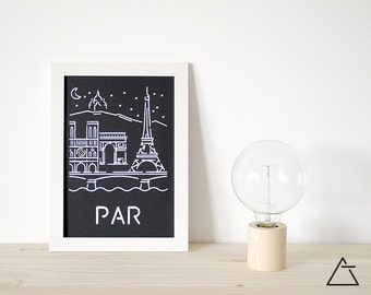 Paris city A4 papercut art - Minimal black and white art - Wanderlust unique gift - Frameable wall art - Home decor artwork