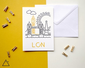 London greeting card - Blank card - Wanderlust unique gift - Home decor wall art - minimal city art - vector illustration cities