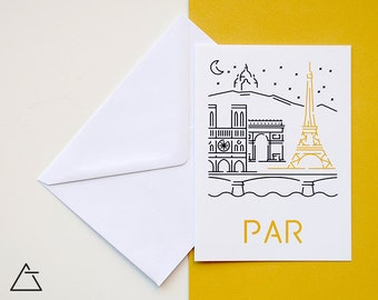 Paris greeting card - Blank card - Wanderlust unique gift - Home decor wall art - minimal city art - vector illustration cities