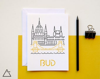 Budapest greeting card - Blank card - Wanderlust unique gift - Home decor wall art - minimal city art - vector illustration cities