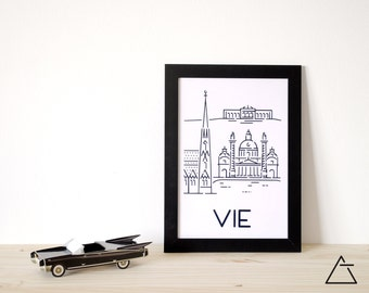 Vienna city A4 papercut art - Minimal black and white art - Wanderlust unique gift - Frameable wall art - Home decor artwork