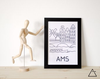 Amsterdam city A4 papercut art - Minimal black and white art - Wanderlust unique gift - Frameable wall art - Home decor artwork