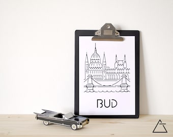 Budapest city A4 papercut art - Minimal black and white art - Wanderlust unique gift - Frameable wall art - Home decor artwork