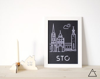 Stockholm city A4 papercut art - Minimal black and white art - Wanderlust unique gift - Frameable wall art - Home decor artwork