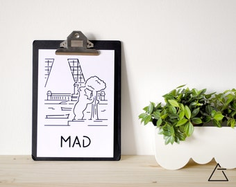 Madrid city A4 papercut art - Minimal black and white art - Wanderlust unique gift - Frameable wall art - Home decor artwork
